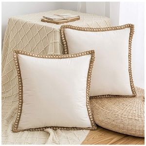 Set Of 2 Throw Pillows Cover Velvet Soft Beige